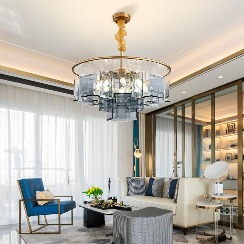 Lighting as a focal point, such as sculptural chandeliers and feature lighting are hot luxury interior design trends this year